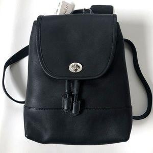 NWT Coach Black Leather Backpack Day Pack Mini